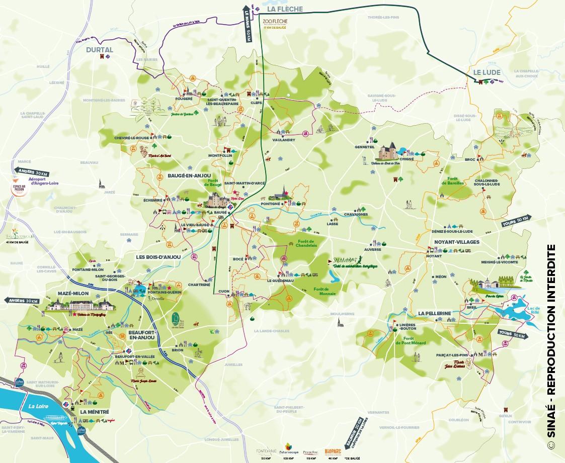 Carte touristique Baugeois vallée en Anjou