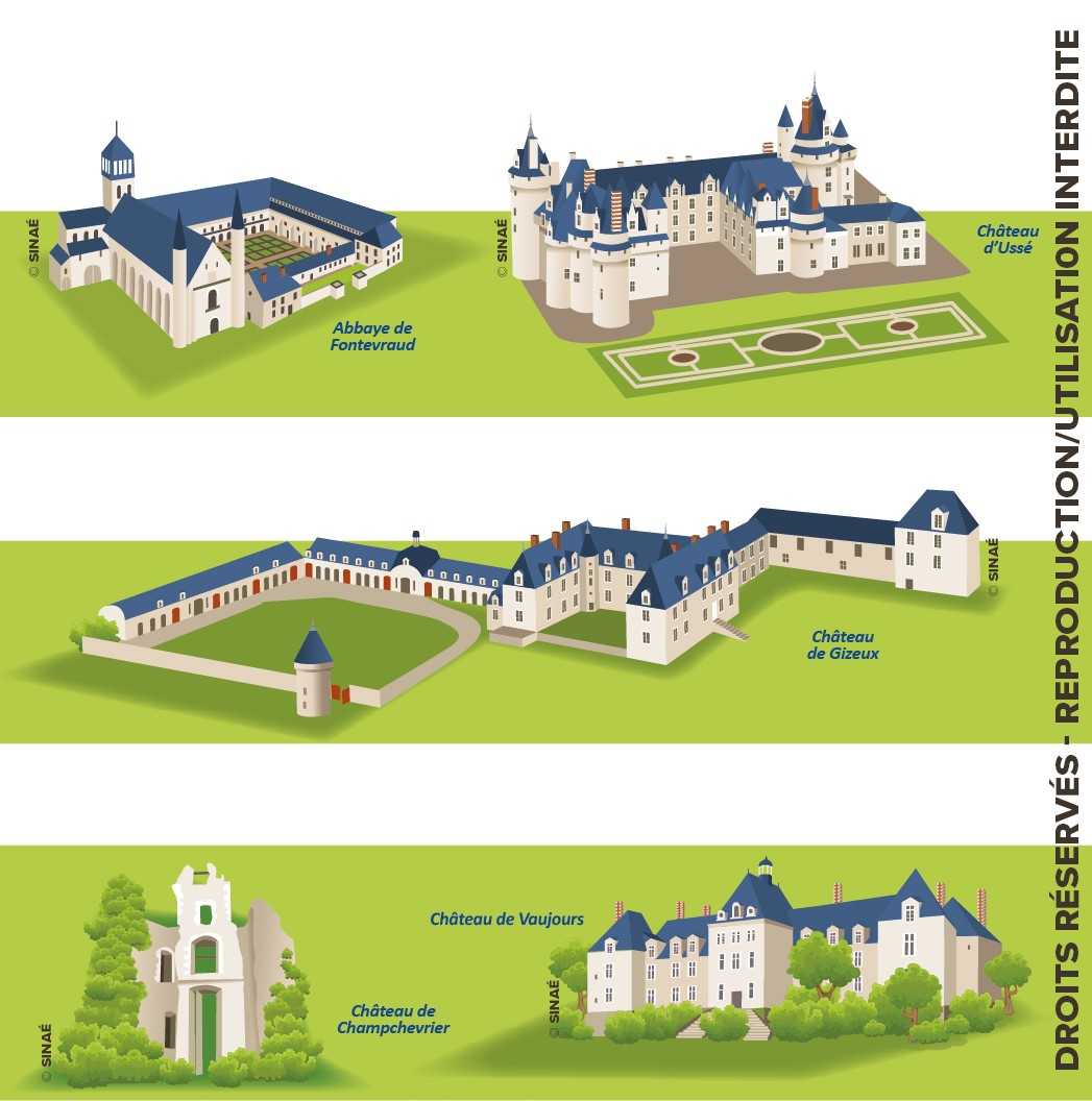 Illustrations de châteaux Touraine